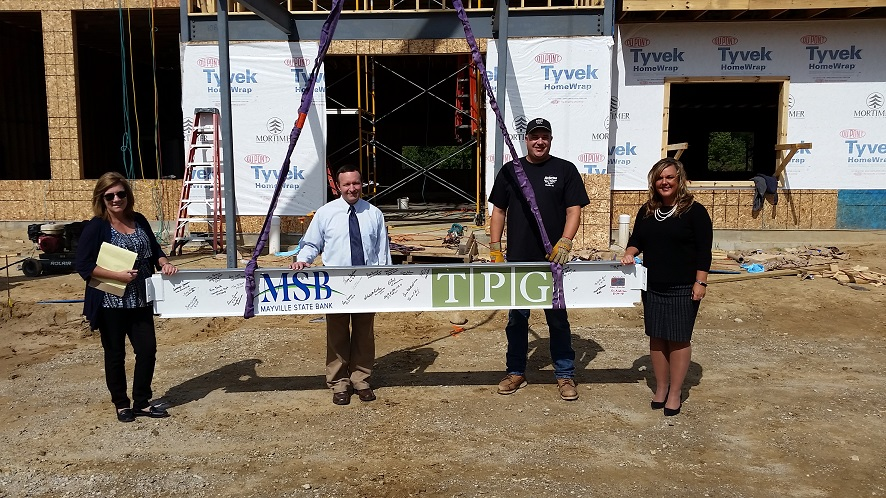Steel Beam Signed by Mayville State Bank Personnel